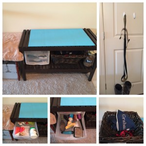 Graham's grooming bench: an IKEA bench, basket, yoga mat and more.
